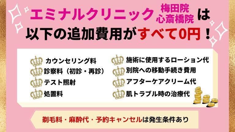 エミナルクリニック梅田院・心斎橋院の追加費用