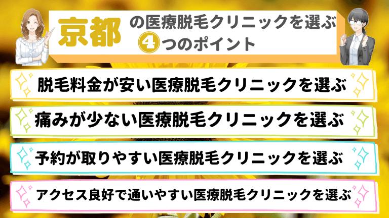 京都の医療脱毛クリニックを選ぶ4つのポイント
