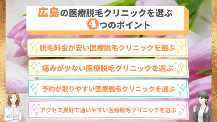 広島の医療脱毛クリニックを選ぶ4つのポイント