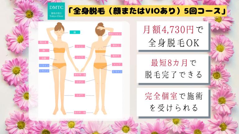 脱毛の窓口東京クリニック(DMTC)クリニックの脱毛範囲・おすすめプラン税込