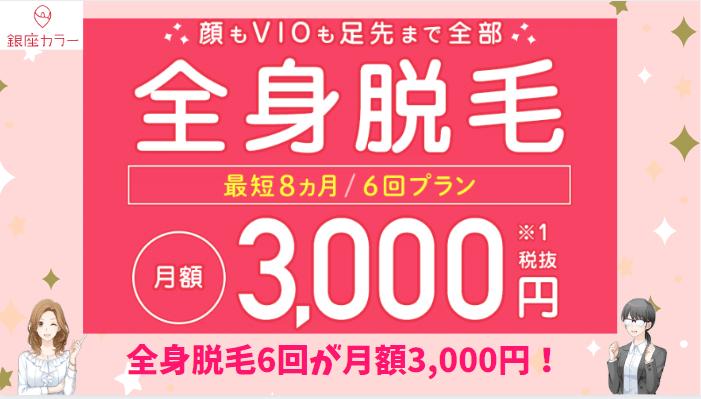 銀座カラー月額3,000円プラン