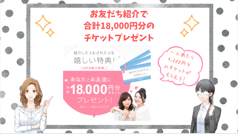 お友だち紹介で合計18,000円分のチケットプレゼント