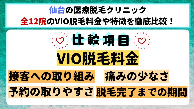 仙台の医療脱毛クリニック全12院のVIO脱毛料金や特徴を徹底比較
