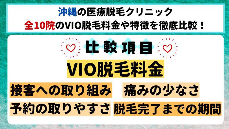 沖縄の医療脱毛クリニック全10院のVIO脱毛料金や特徴を徹底比較