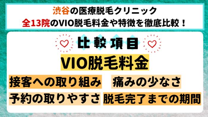 渋谷の医療脱毛クリニック全13院のVIO脱毛料金や特徴を徹底比較