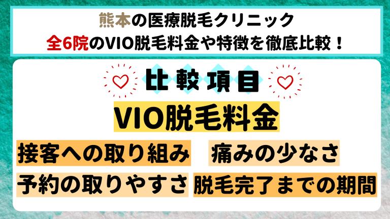 熊本の医療脱毛クリニック全6院のVIO脱毛料金や特徴を徹底比較
