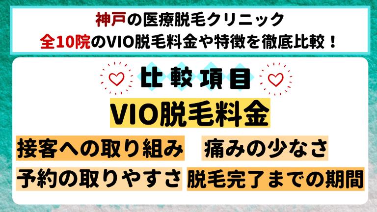神戸の医療脱毛クリニック全10院のVIO脱毛料金や特徴を徹底比較