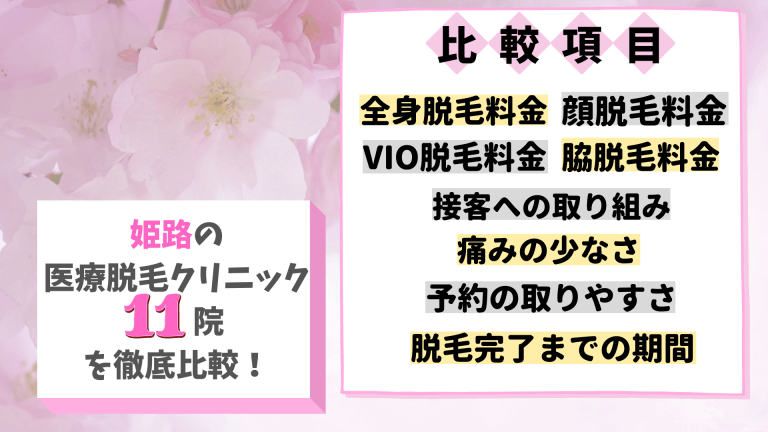 姫路の医療脱毛クリニック11院を徹底比較!