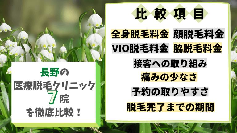 長野の医療脱毛クリニック7院を徹底比較!
