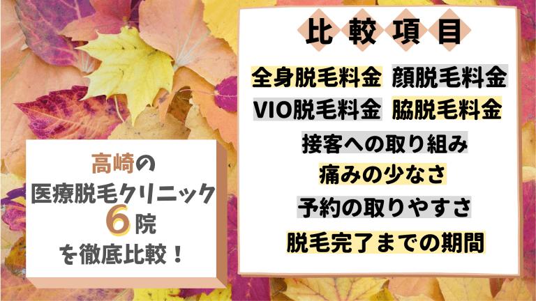 高崎の医療脱毛クリニック6院を徹底比較!