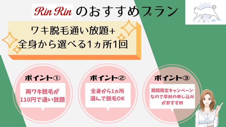 RinRinのおすすめプラン両脇税込