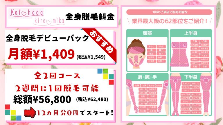全身脱毛恋肌_キレミカ料金紹介