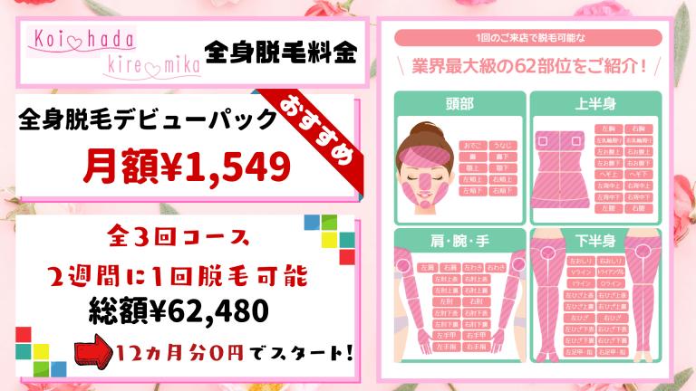 全身脱毛恋肌_キレミカ税込料金