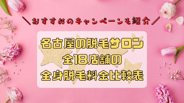 名古屋の脱毛サロン全18店舗比較(全身)