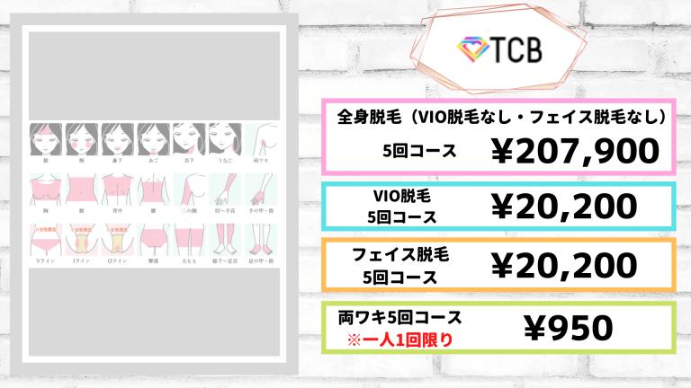 TCB東京中央美容外科 京都院の脱毛料金