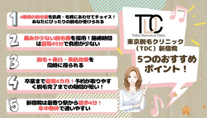 TDC新宿5つのおすすめポイント
