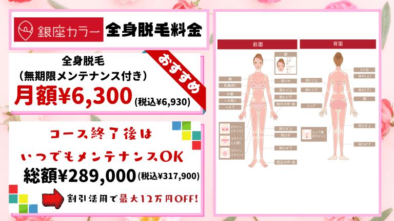 全身脱毛銀座カラー料金紹介