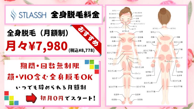 全身脱毛STLASSH料金紹介