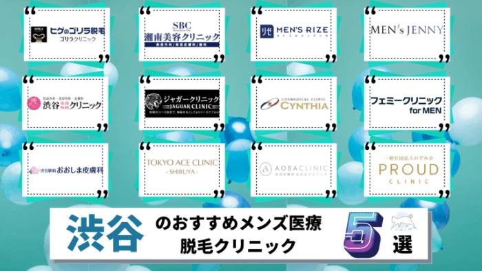 渋谷のメンズ医療脱毛クリニックおすすめ5選!料金が安い全12院を徹底比較しました